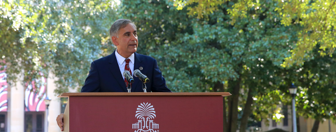 President Harris Pastides delivering the State of the University speech