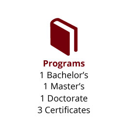 Infographic:  Programs: 1 Bachelor's, 1 Master's, 1 Doctorate, 3 Certificates