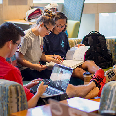 students studying together in a lounge