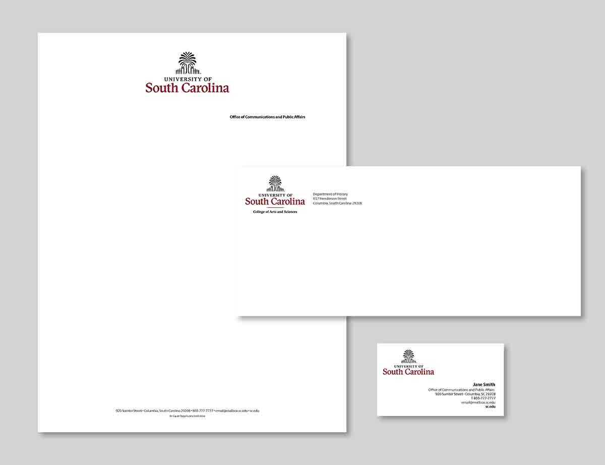 example of lettrhead, business cards and envelopes