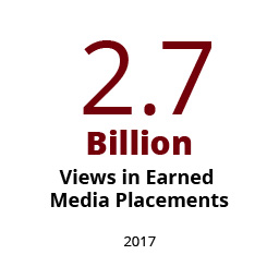 Infographic: 2.7 billion views from earned media placements in 2017