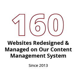 Infographic: 160 websites managed on our content management system since redesign began in 2013