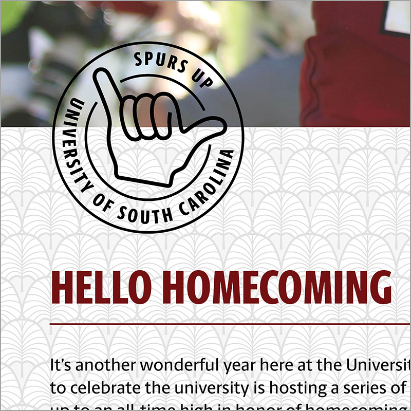 Example of a UofSC stamp top the top left of a heading, overlapping a background pattern and a banner image.