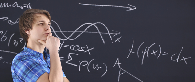 College Student Thinking Physic Blackboard