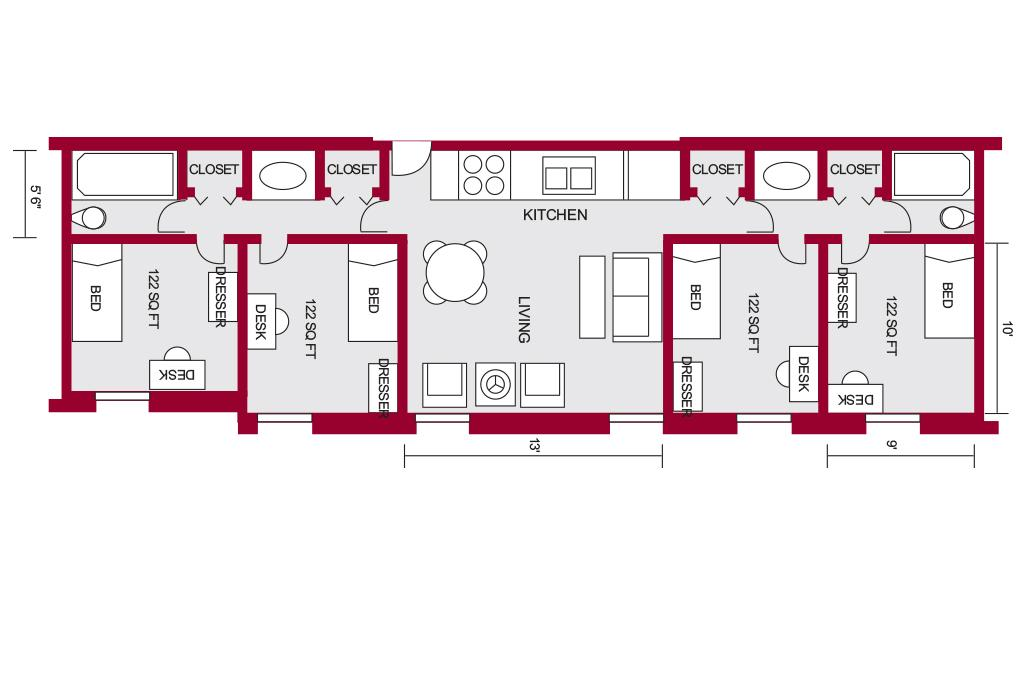 South quad housing university of south carolina for Quad apartment plans