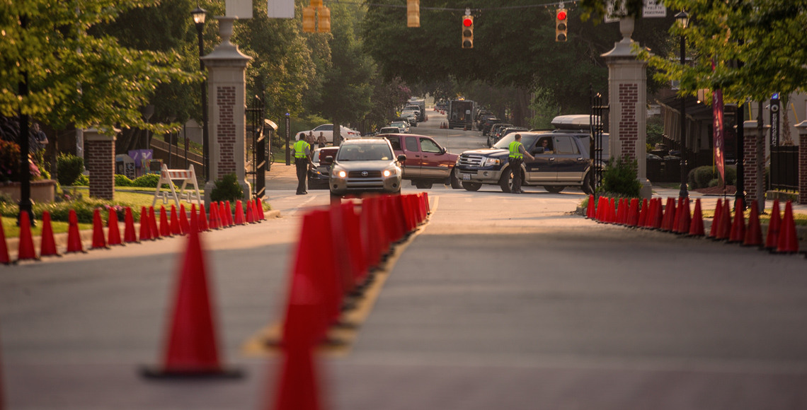 Orange cones marking traffic routes during move-in day.