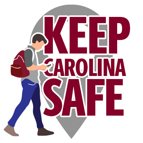 graphic image of student walking with keep carolina safe text