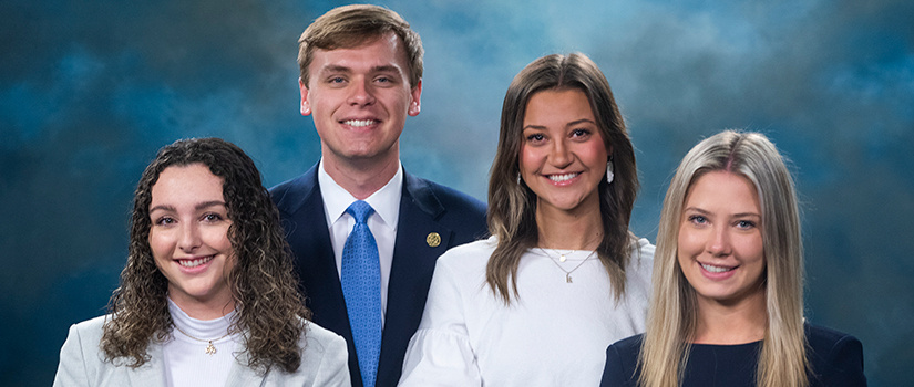 Group headshot of student government executive officers.