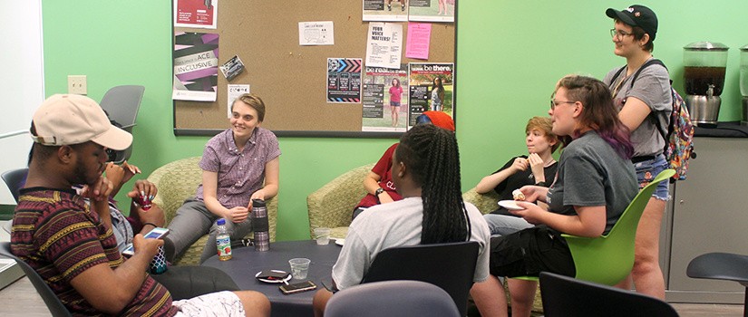 Students gather for fun and conversations in the lounge.