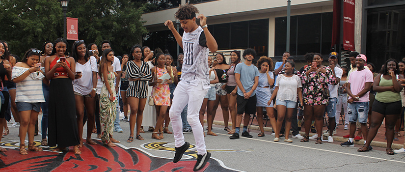 Students enjoying Hip Hop Wednesday on Greene Street.