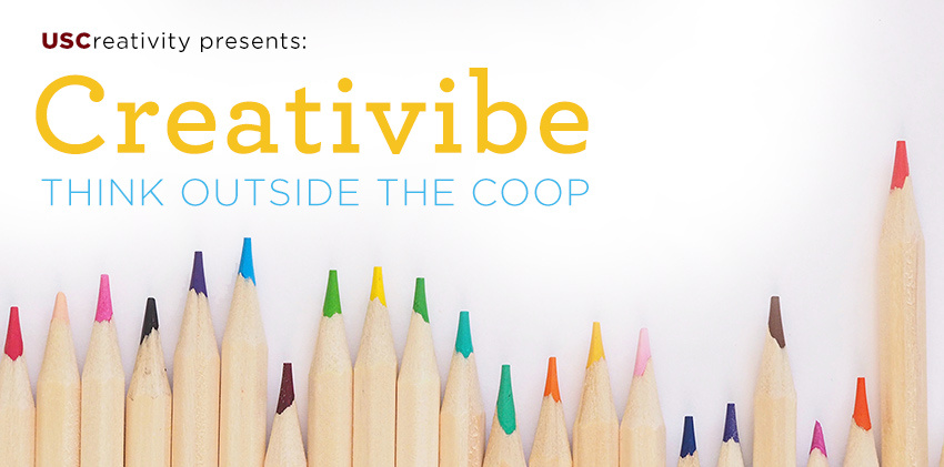 Colored wooden pencils with the logo USCreativity presents Creativibe think outside the coop.
