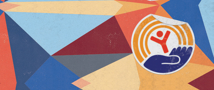 Geometric shapes make a background for the United Way logo of cupped hands