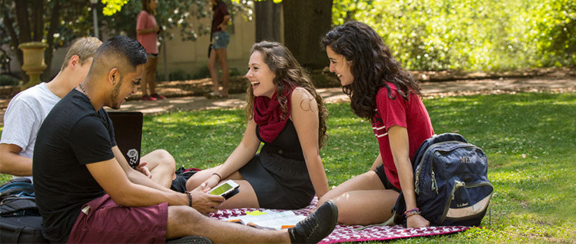 Students on the U of SC Horseshoe