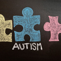 Autism and puzzle pieces on chalkboard