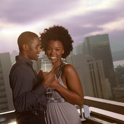 African american couple on rooftop