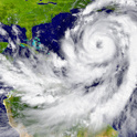Satellite image of a hurricane over the atlantic