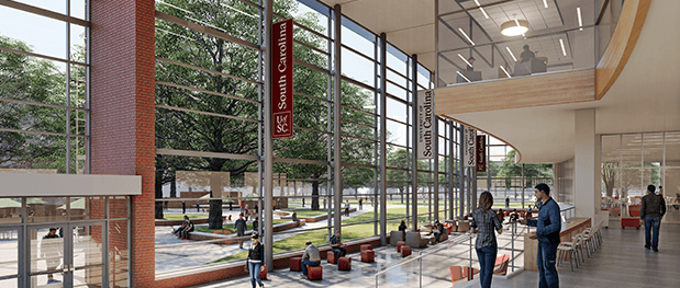 Architectural rendering of a renovated Russell House University Union