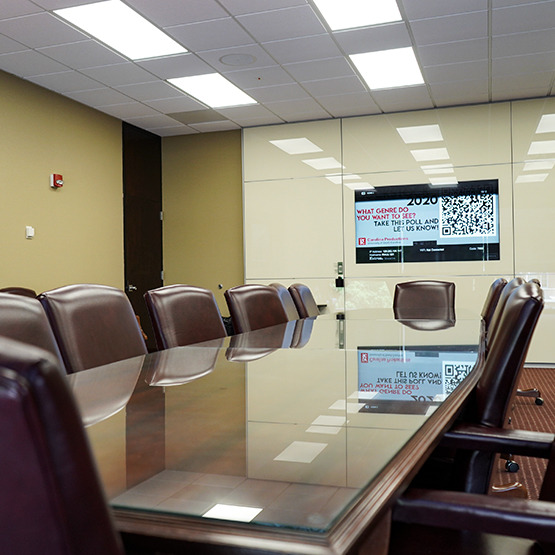 conference table with comfortable chairs and lots of window light