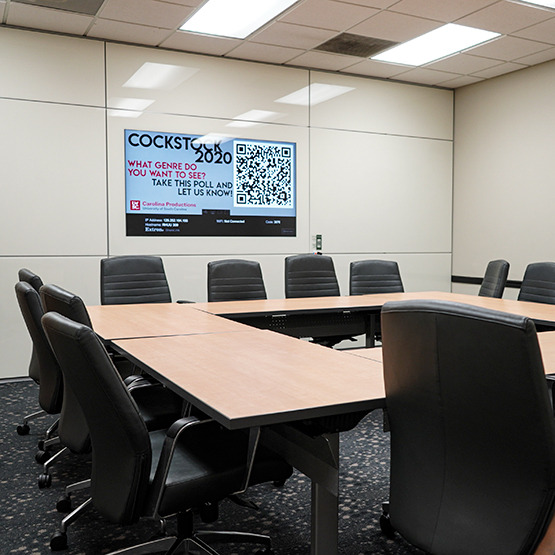 Conference table in a room with a mirrored-cabinet and chairs