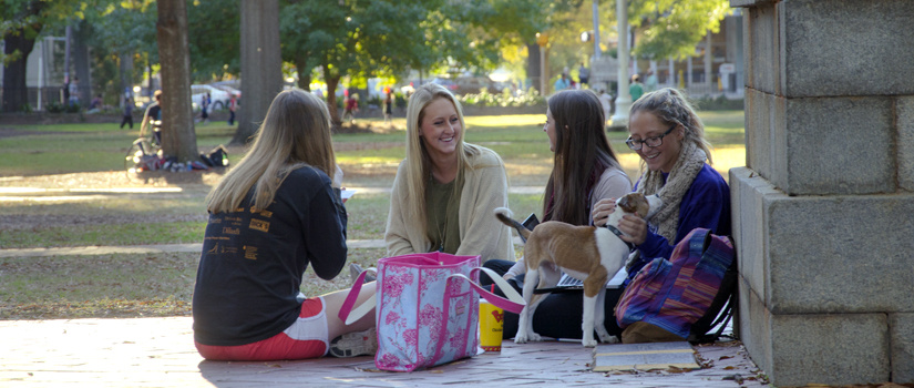 Students on USC's historic horseshoe