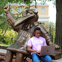 student looking at laptop by cocky statue
