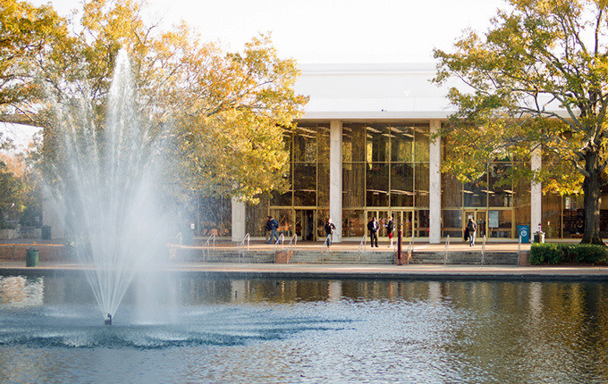 Thomas Cooper Library and fountain