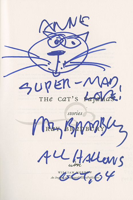 Book inscription with cat drawing