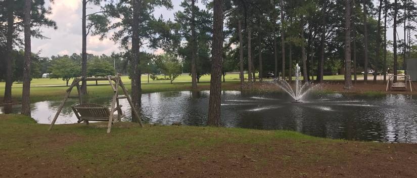 The pond at The Grove at the USC Salkehatchie Allendale Campus.