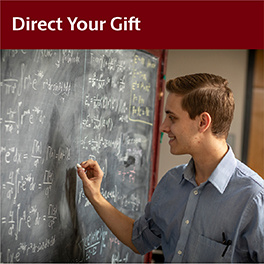Direct Your Gift (student writing equations on blackboard)