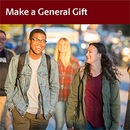 Make a General Gift (students walking on campus)