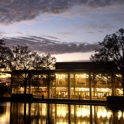 Evening view of Thomas Cooper Library and the reflecting pond under a dusky sky