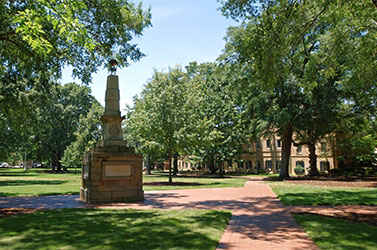 The Maxcy monument on the Horseshoe on campus.
