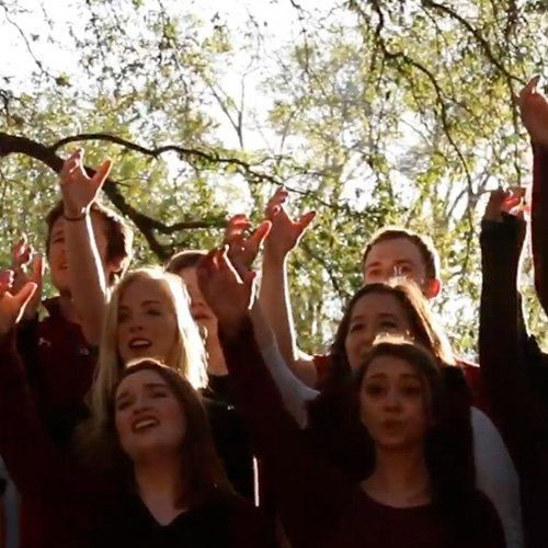University of South Carolina acapella groups raising their arms for alma mater.