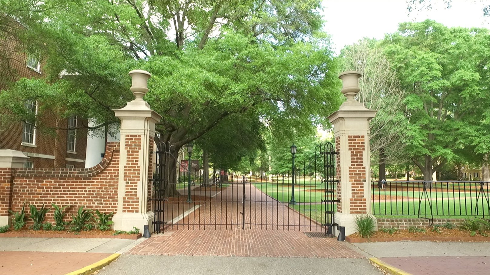 Entrance to the Horseshoe with the gates closed on a beautiful day