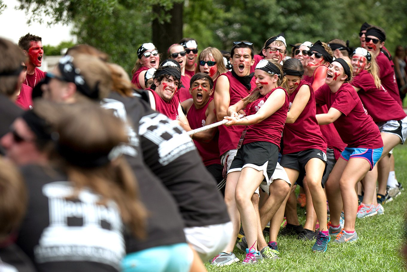 Students participate in a massive tug of war