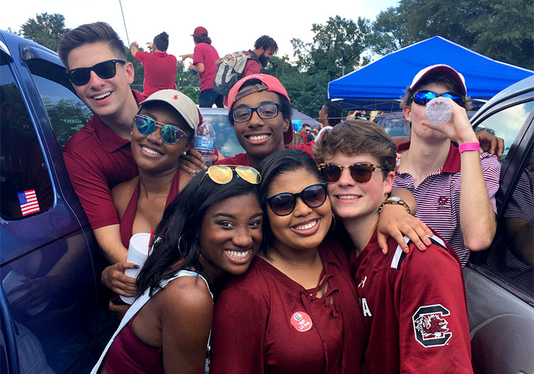 Group of students before South Carolina football game.