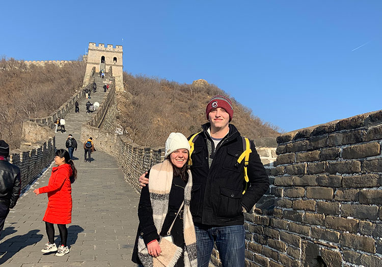 Dalton Stalvey and Samantha Petrelli standing atop Great Wall of China