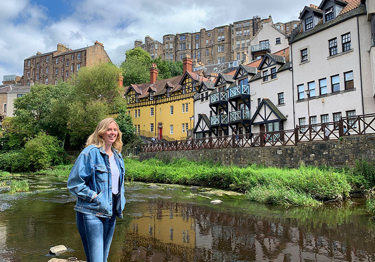 Moira Bocrie next to Water of Leith Walkway in Edinburg.