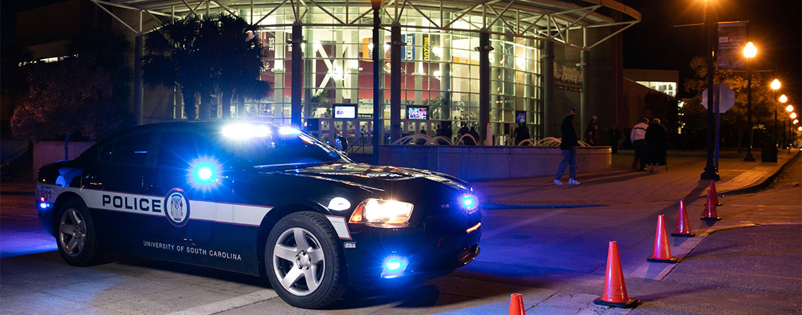 USC police car in front of Colonial Life Arena
