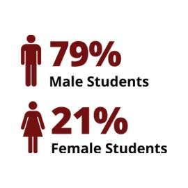 Infographic: 79% male students, 21% female students