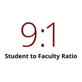 Infographic: 9 to 1 student to faculty ratio