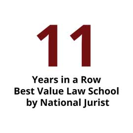 Infographic: best value law school 11 years in a row by National Jurist