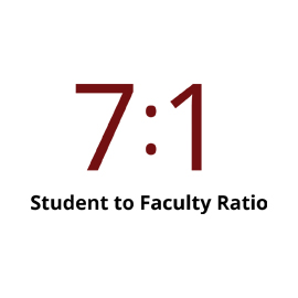Infographic: 7 to 1 student faculty ratio
