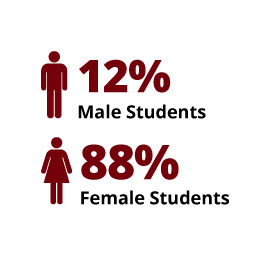 Infographic:  12% Male Students, 88% Female Students