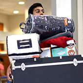 Student moving in belongings