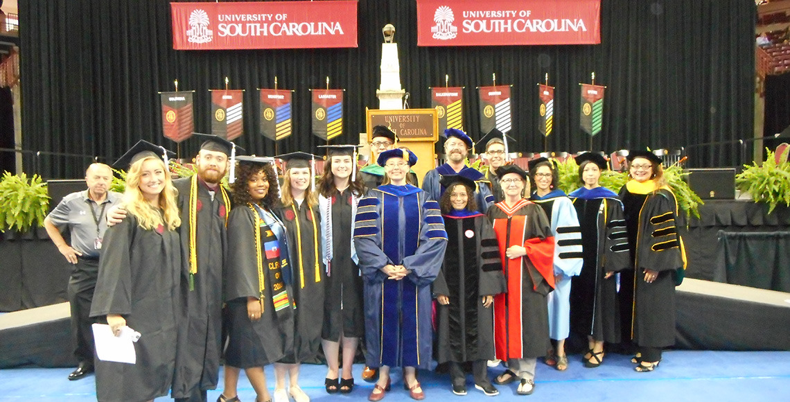 Anthropology graduates and faculty after commencement