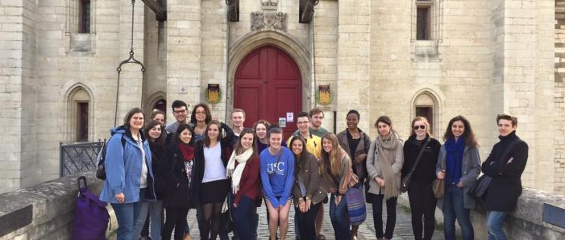 Students outside an English church