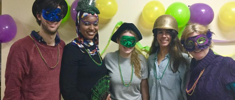 Students dressed for Mardi Gras
