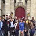 Students in front of an English church