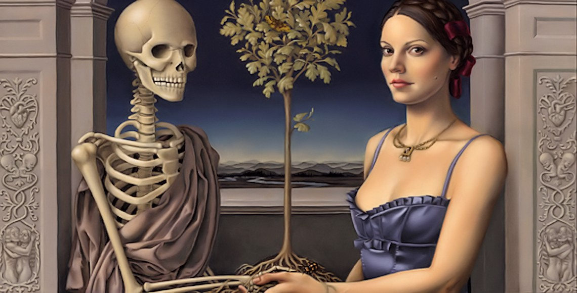 Female holding hands with a skeleton